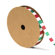 3/8 inch green, white and red stripe grosgrain ribbon