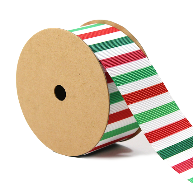 1 1/2 inch green, white and red stripe grosgrain ribbon