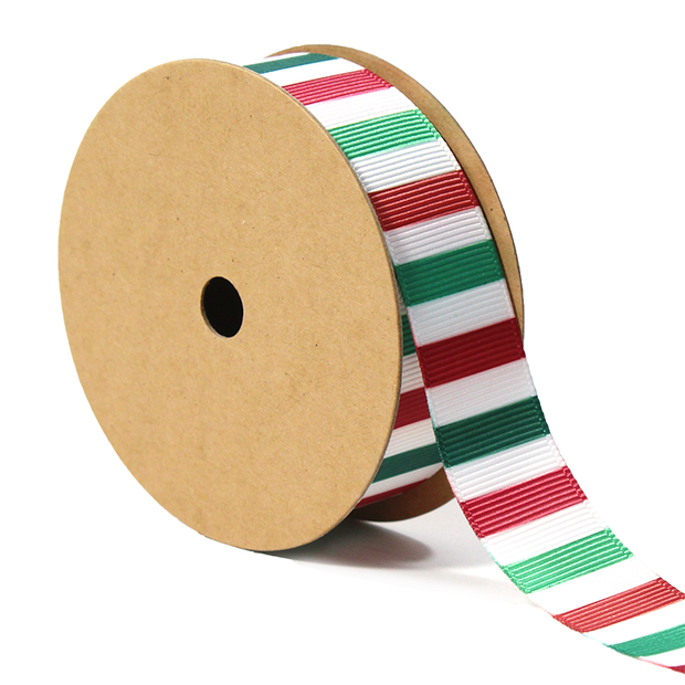 5/8 inch green, white and red stripe grosgrain ribbon