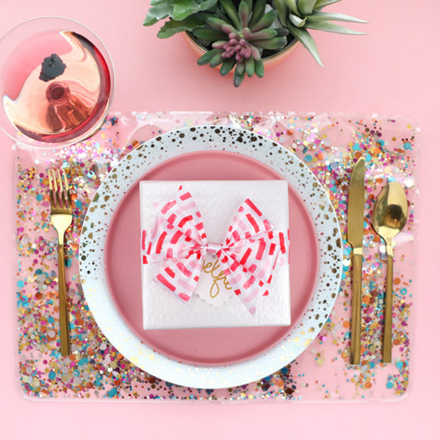 Dinner table set up with valentines ribbon
