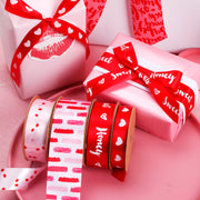 16mm Red/White Heart Printed Satin Ribbon