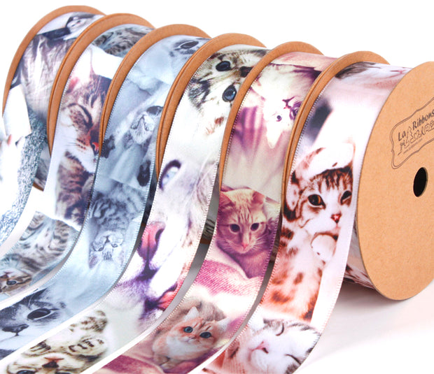 63mm Black/White Multi Dog Printed Ribbon