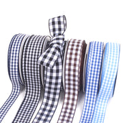 A collection of blue gingham printed ribbon