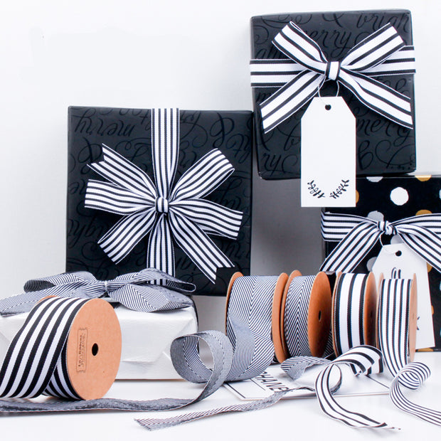 38mm Black/White Striped Ribbon
