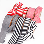 25mm Red/White Stripe Twill Ribbon