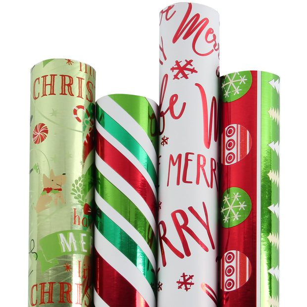 Red and green metallic foil Christmas theme wrapping paper four roll pack