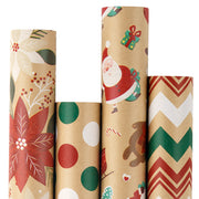 Christmas Kraft Wrapping Paper - Flowers, Santa Claus, Chevron and Dots - Natural/Multi - 4 Rolls - 30 inches x 10 feet per Roll