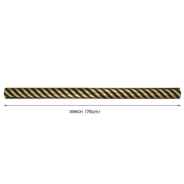 "Diagonal Stripe Gold Foil/Black Wrapping Paper Roll - 30"" X 16'/Roll"