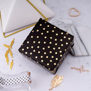 "Metallic Confetti Dot Black/Gold Foil Wrapping Paper Roll - 30"" X 16""/Roll"