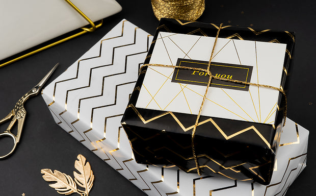 "Metallic Gold Foil Wave/Black Wrapping Paper - 30"" X 16'/Roll"