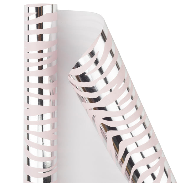 "Metallic Zebra Silver Foil/Baby Pink Wrapping Paper Roll - 30"" X 16'/Roll"