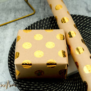 "Metallic Gold Foil Polka Dot Kraft Wrapping Paper Roll - 30"" X 16'/Roll"