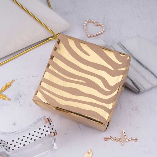 "Metallic Zebra Gold Foil Wrapping Paper Roll - 30"" X 16'"