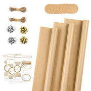 RUSPEPA Kraft Wrapping Paper Rolls with Tags, Stickers and Jute String - 17 inches x 10 feet per Roll, Total of 3 Rolls, Solid Brown