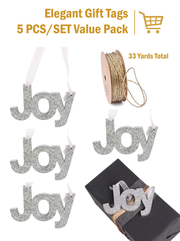 "Wooden ""Joy"" Sign Door Wall Hanging Christmas Ornament/Gift Tag Bundle"