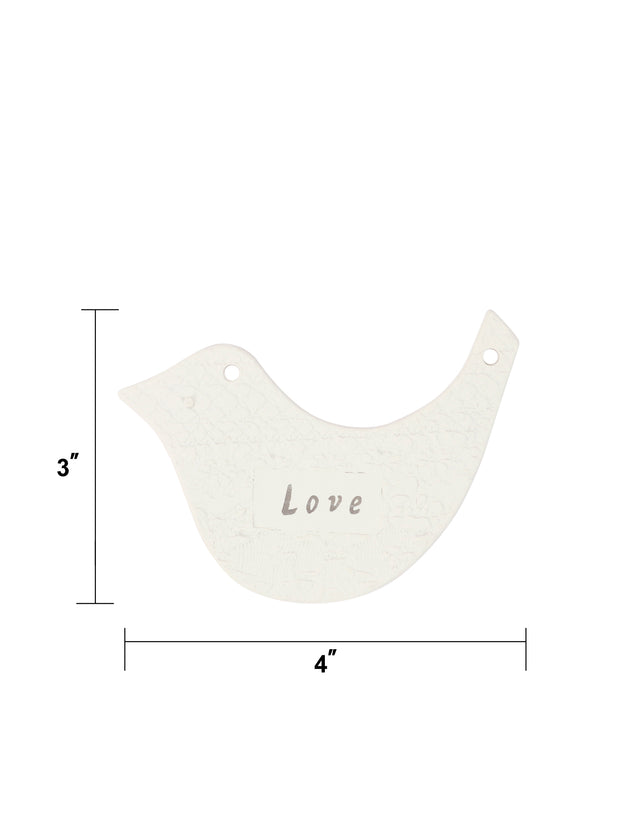 "4Pcs ""Peace"",""Love"",""Joy"",""Hope"" White Bird Resin Gift Tags"