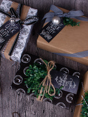 90Pcs Christmas Black Paper Gifts Tags with 100 Ft Natural Jute Twine