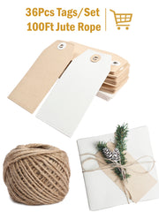 36Pcs Christmas Brown & White Kraft Paper Gifts Tags with 100 Ft Natural Jute Twine