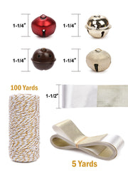 "16Pcs Jingle Bells Mini Bells Bulk with 100ft White Cords & 5 Yards 1.5"" White Satin Ribbon"