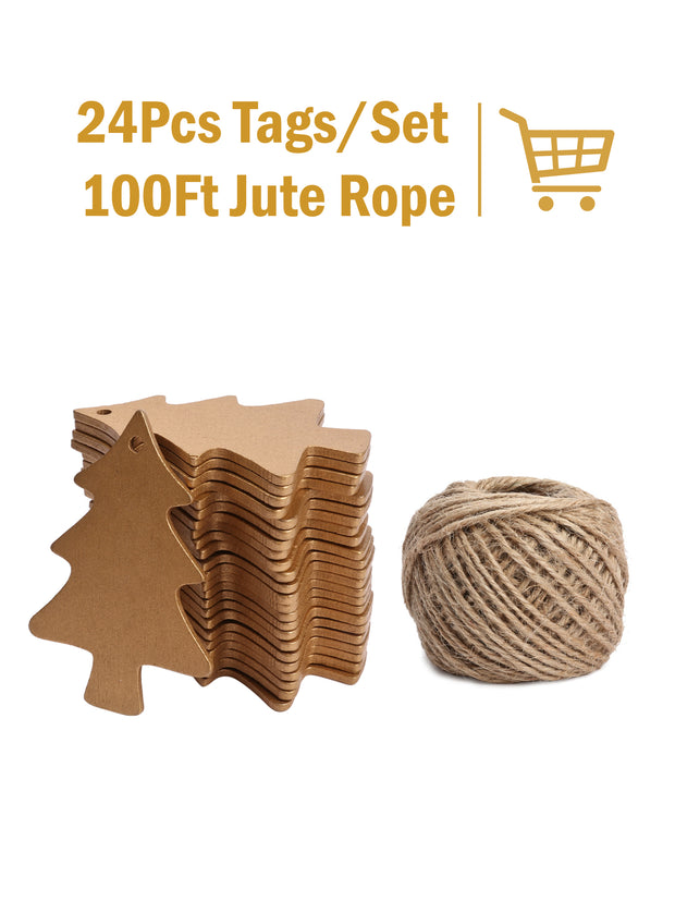 24Pcs Wooden Gift Tags with Holes and 100ft Jute Twine for Gifts Wrapping Decoration