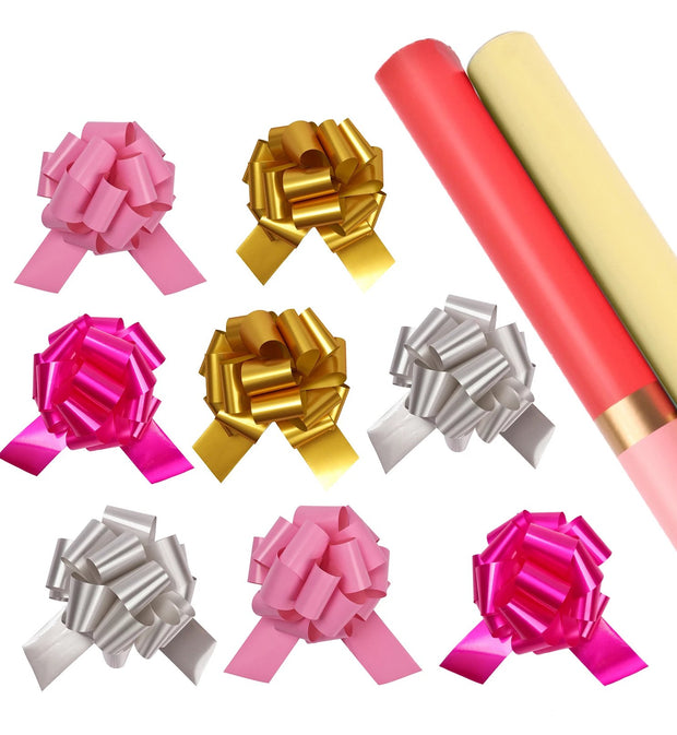 Pink gold stripe wrapping paper roll with pink, gold and silver gift bows