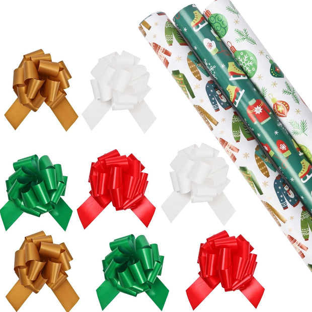 Ugly Christmas sweater theme wrapping paper rolls with gold, white, red and green gift bows