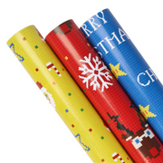 Three yellow, red and blue retro pixel style wrapping paper rolls