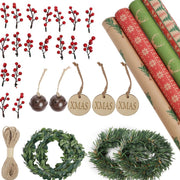 Red and green Christmas kraft wrapping paper rolls with wreaths, round gift tags, small bells, holly berry sticks and twine