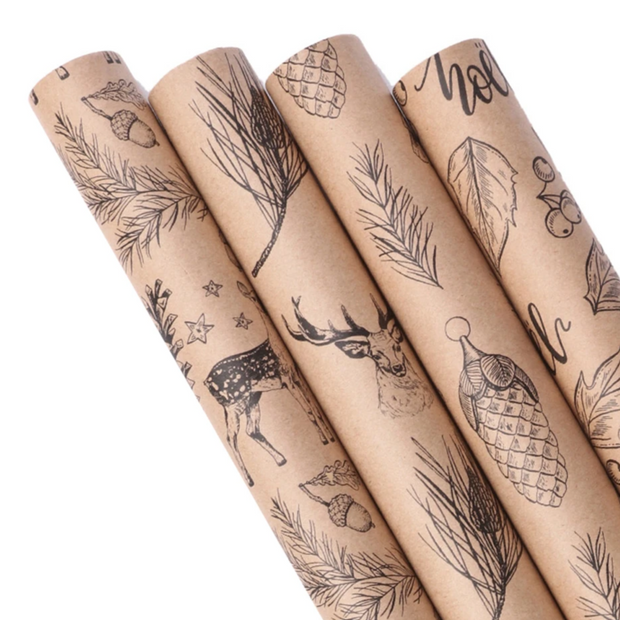 Beige kraft animal print wrapping paper rolls