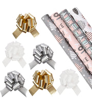 Pink and grey Christmas theme wrapping paper rolls with metallic gold, white and silver gift bows