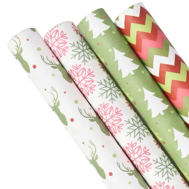 Red, green and white Christmas theme Kraft wrapping paper rolls