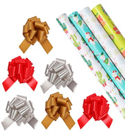 Cactus theme wrapping paper rolls with matte gold, red and silver gift bows