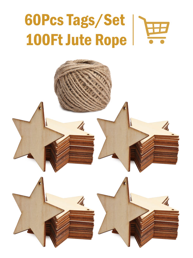 60Pcs Star Wooden Gift Tags with Holes and 100ft Jute Twine for Gifts Wrapping Decoration
