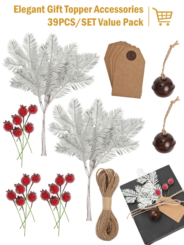 39Pcs/Set Gift Wrapping Collection - Artificial Branch, Red Berry, Gift Tags, Bells
