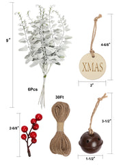 36Pcs/Set Gift Wrapping Collection - Artificial Leaves Plants, Red Berry, Gift Tags, Bells