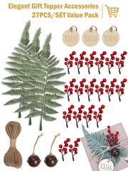 27Pcs/Set Gift Wrapping Collection - Artificial Pine Leaves, Red Berry, Gift Tags, Bells