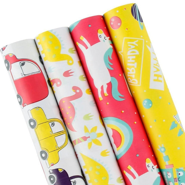 Yellow and red unicorn children's theme wrapping paper roll pack