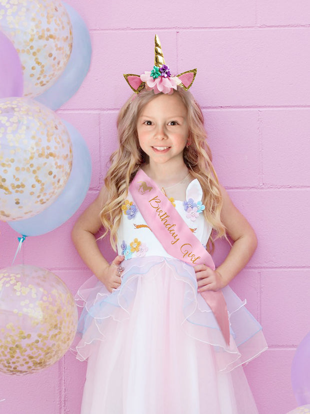 Unicorn Birthday Set of Unicorn Headband and Pink Satin Sash Happy Birthday