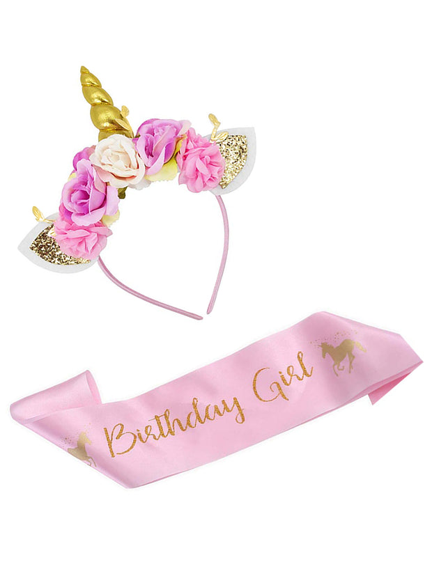 Unicorn Birthday Girl Set of Gold Unicorn Headband and Pink Satin Birthday Sash
