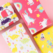 Yellow and red unicorn children's theme wrapping paper gifts