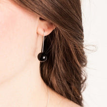 Load image into Gallery viewer, EARRINGS BLACK AGATE