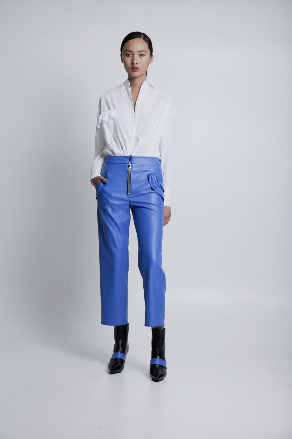70% OFF Vegan leather pants blue