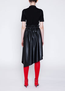 Asymmetric faux leather skirt with stretch waist