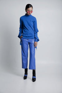 50% OFF Blue  Polo with ruffle details on the arms