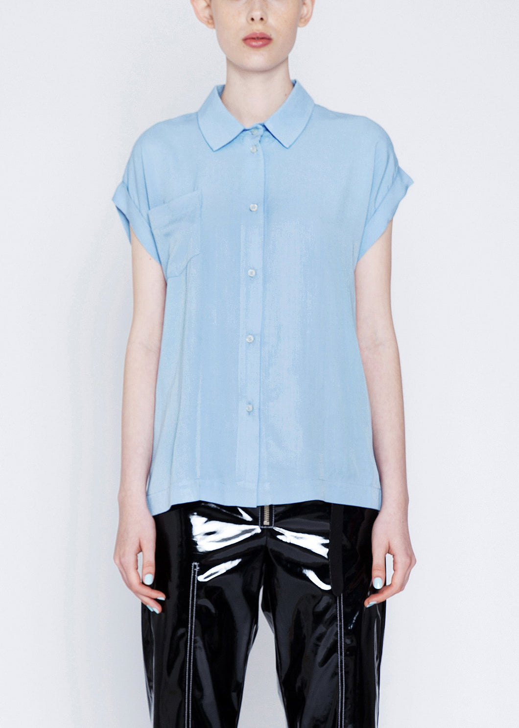 50% OFF  Loose fitted blouse with ruffles in the blue
