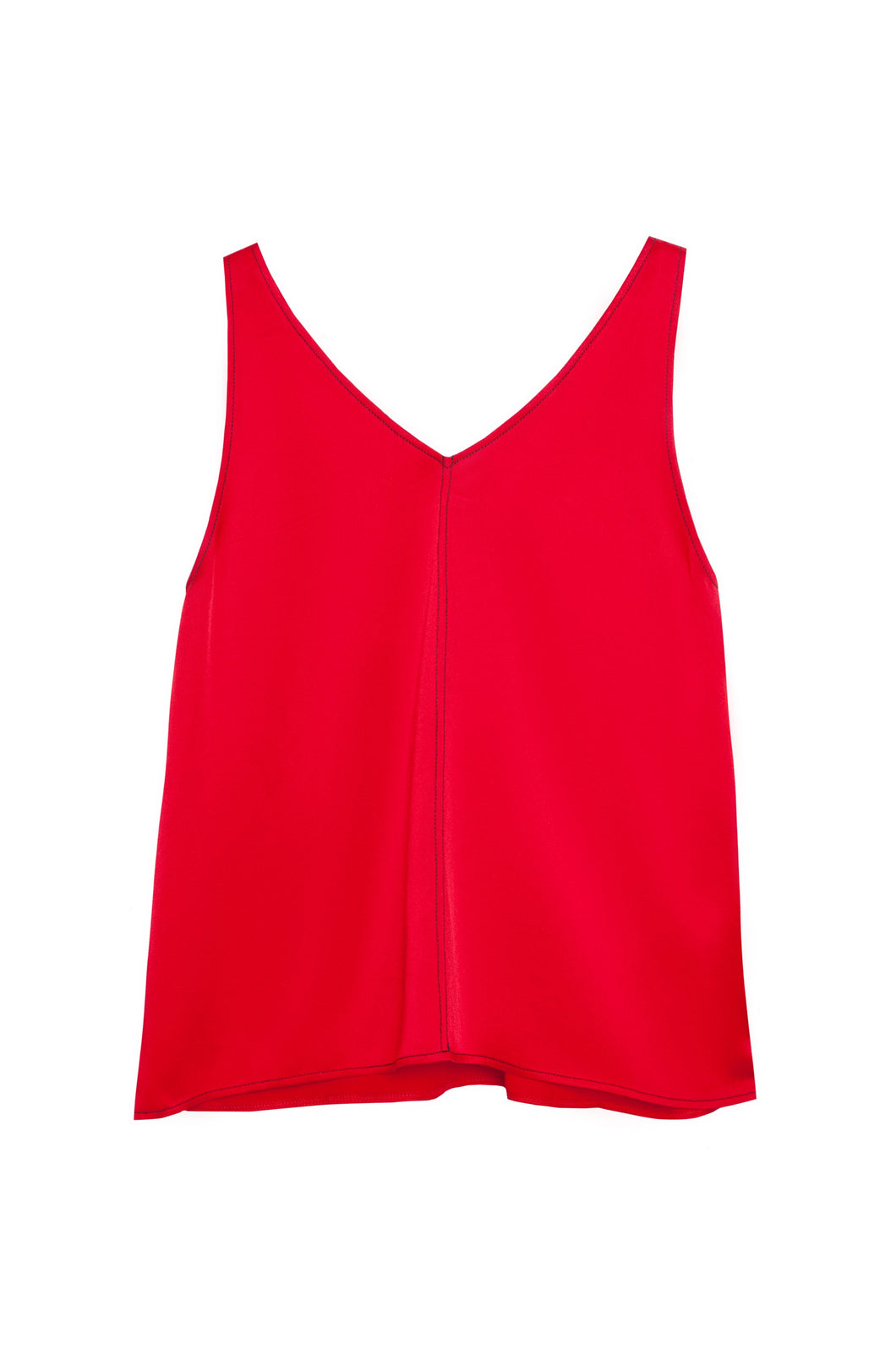 50% OFF  V- neck top with accent stitching red