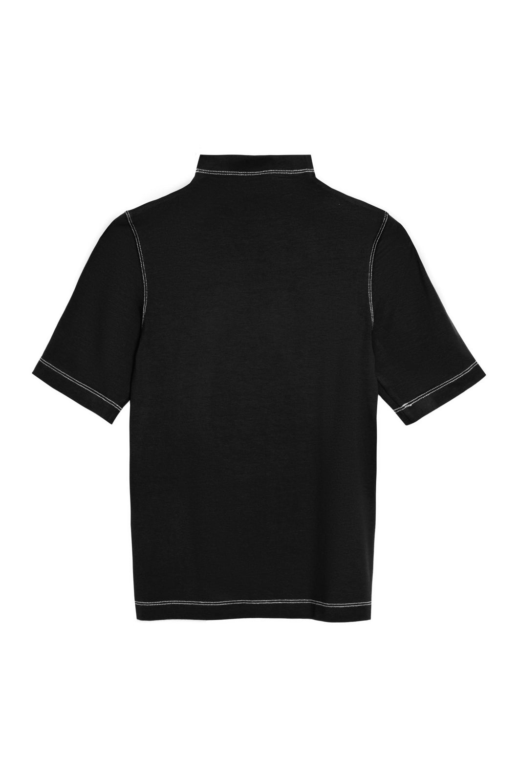 Half polo top in jersey  accent stitching
