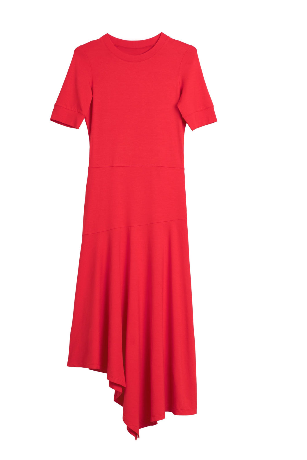 Asymmetric jersey dress red
