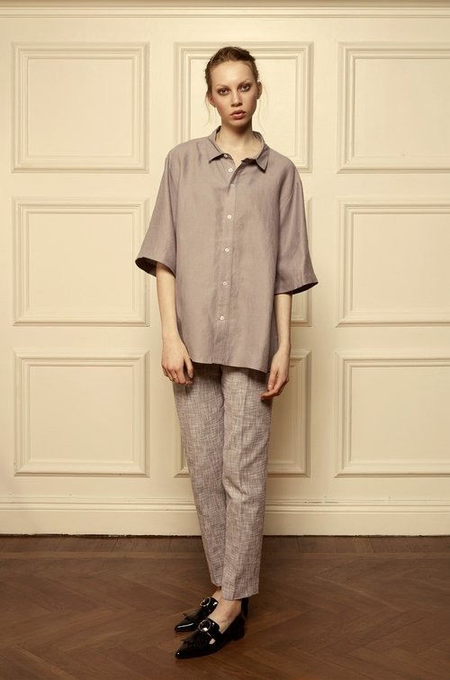 50% OFF Albin unisex shirt linen,  purple grey