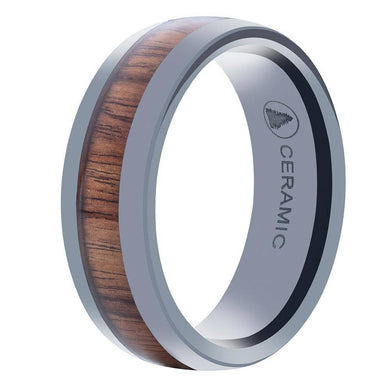 Black Ceramic Wedding Band With Domed Design And Pear Wood